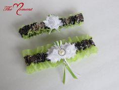 Green True Timber MC2 Camo Bridal Garter Set for wedding or prom by- TheMomentWeddingBoutique