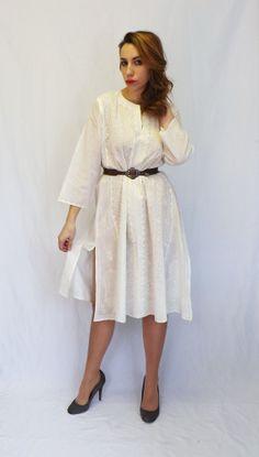 Vintage Retro White Cotton Embroidered Tunic by alicksandraflin