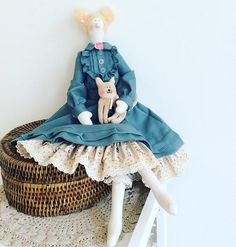 Tilda Amelie and her cat Oscar Doll Rag doll Tilda doll Soft toy Fabric Stuffed Doll Baby Gift for Baby Girl Toy Kids room decor Home decor They are always together, because they love and take care of each other. They are always having a good time together