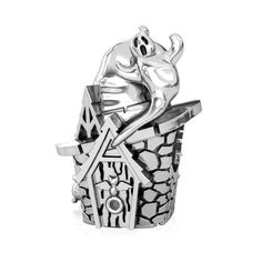 1a9fae7f0 witch hat haunted house ghost broom party Halloween decoration bead charm  silver fits Pandora bracelets women. Bella Fascini