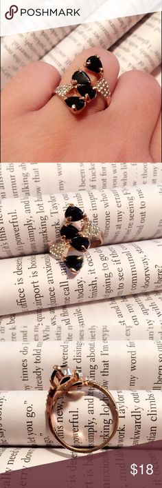 🔴Rose Gold and Black Stones Ring Beautiful Rose Gold and Black Stones Ring detailed with CZ on sides. Quality Ring, would not turn your finger green. Fits size 8 - 8.5. Jewelry Rings