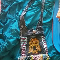 Pattern cross body purse Owl design,  fringe,  small Bags Crossbody Bags