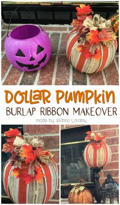 Make a Chic Burlap Pumpkin from a $1 Bucket- cute fall  halloween decorations. DIY project craft for fall. Dollar store pumpkin decorating ideas.