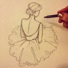 a ballerina drawing with dress and backless, girl drawing in pencil by salinafeuchtner Ballerina Drawing, Ballet Drawings, Dancer Drawing, Dancing Drawings, Drawings Of Ballerinas, How To Draw Ballerina, Ballerina Painting, Manga Girl Drawing, Girl Drawing Easy