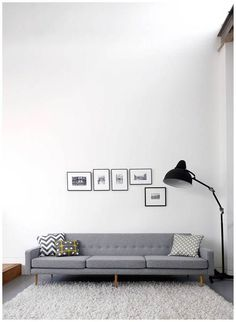 Hang small works on an empty wall & don't stick to just one straight line. //**More TIPS from our 'Art in Minimal Interiors' Blog Post! Visit the Latela Art Gallery Blog for tips & inspiration on building your art collection (on any budget!) + get the convo started today to find the perfect art pieces!