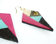 Colorful leather earrings graphic inspired by african prints handmade by Adorness  http://www.adornessjewelry.etsy.com/
