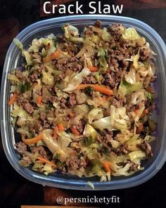 2 lbs. Ground beef or turkey (your choice on meat)2 bags Dole (or other brand) Classic Cole Slaw Mix4 Green Onion3 tsp minced garlic (I used real garlic and cut up just a few slices, adjust to taste)3 tbsp Soy Sauce (I used light soy sauce to taste, doesn't have to be exact)2 tbsp sesame oil2 tsp crushed red pepper flakes (optional)2 tsp ground ginger