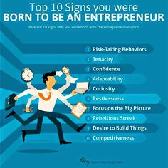 Top 10 Signs you were Born To Be An Entrepreneur.  #infographic