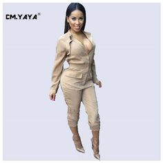 cd499e8cd98 CMYAYA 2016 New Women Casual Spring Khaki Full Sleeve Square Collar Pocket  Jumpsuit at our web