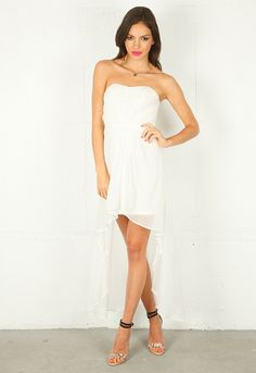 Strapless High Low Dress in 2 Colors - Lyst