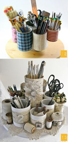 This is a cute idea. Take a bunch of tins. Hot glue them down on a round board and decorate them. I like that.