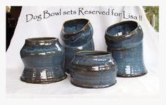 Spaniel Dog Bowl Pottery by rikablue on Etsy, $137.50