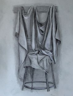 "Drapery Values: Charcoal and white conte crayon on 20x25"" grey drawing paper"