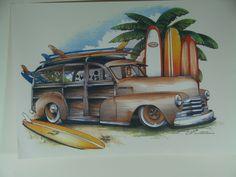 1950-51 Woody Wagon Surf Boards Palm Tree on T Shirt  Size M L XL 2XL 3XL  Free Shipping