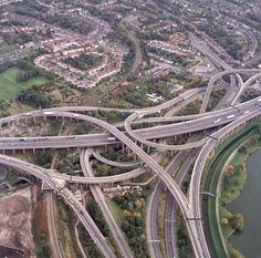 Spaghetti Junction, Birmingham UK - For a part of my childhood at least, we used to regularly drive through Spaghetti Junction, pretending to eat our bowl of spaghetti Birmingham City Centre, Highway Road, Birmingham England, Two Rivers, City Road, Beautiful Buildings, Great Britain, City Photo, Around The Worlds