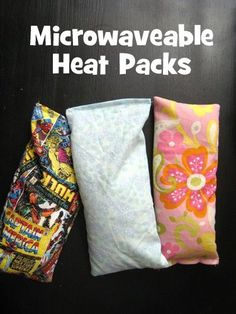 Microwaveable heat packs. I used a cloth bag that a new set of pillowcases came in. This was the perfect size and made it really easy because it was sewn on 3 sides already. All I had to do was fill with rice and sew the top shut!!