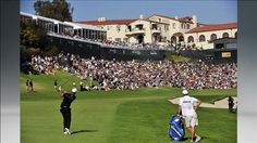 Dustin Johnson hits his approach shot onto the 18th green during the ...