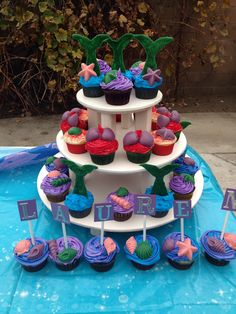 I always wanted an under the sea/ Ariel themed party Little Mermaid Cupcakes, The Little Mermaid, Party Themes, Party Ideas, Fun Cupcakes, Awesome Cakes, 5th Birthday, Cake Cookies, Chocolates