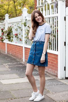 Denim Skirt and Stripe Shirt - source: Prosecco and Plaid | Style ...