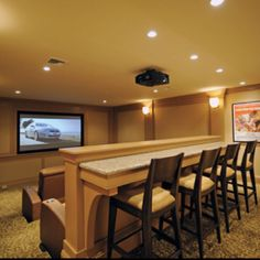 Bar Feel , theatre Room. I like this if the theatre room had to share as the man room