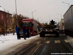 Hungary deploys tanks to reach snowbound cars on M1 motorway
