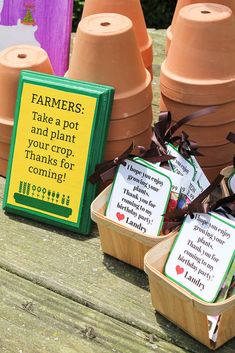 Farm Birthday Party Ideas - Seed Packets for Favors - Farm Birthday Party Ideas – Seed Packets for Favors Party favors for farm themed parties – seed packets with little pots for planting. Farm Animal Party, Farm Animal Birthday, Farm Birthday, Birthday Party Games, Third Birthday, Tractor Birthday Parties, Themes For Birthday Parties, Petting Zoo Birthday Party, 1st Birthday Party Favors