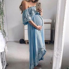 Maternity Casual Lace Off Shoulder Dress - Lukalula - Mami outfit fashion - Cheap Maternity Clothes Online, Plus Size Maternity Dresses, Cute Maternity Outfits, Stylish Maternity, Maternity Wear, Maternity Clothes Spring, Casual Pregnancy Outfits, Summer Maternity Fashion, Pregnancy Clothes