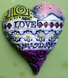 Love Heart by Karen Fincannon. Image only on Karen Fincannon at… I Love Heart, Happy Heart, Color Heart, Fire Heart, Polymer Clay Creations, Heart Art, Clay Projects, Love Is All, Clay Art