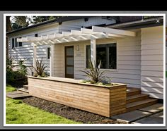 Great idea for the front of studio. Will stop alot of the summer heat. Can be outdoor storage or a bar or a planter box