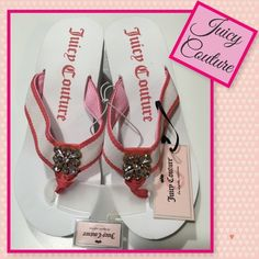 Juicy Couture flip flops Juicy Couture white and pink wedge sandals sz med (7/8). Rhinestone accent due to nature of material some dents and dark mark on bottom. See pics for example Juicy Couture Shoes Sandals