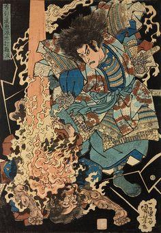 Nunohiki no taki akugen daita nanpa Woodblock print, oban tate-e. Akugenda Yoshihira, returning as a ghost, executes vengeance with a thunderbolt on his slayer, Namba Jiro (defeating the source of the. Japanese Art Prints, Japanese Drawings, Japanese Artwork, Japanese Tattoo Art, Japanese Painting, Japanese Art Samurai, Japanese Warrior, Samurai Art, Japan Illustration