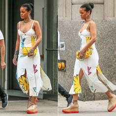 Rihanna In Adam Selman Floral Slip Dress - Haus of Rihanna Looks Rihanna, Rihanna Style, Dope Fashion, 90s Fashion, Fashion Outfits, Fashion Killa, Fasion, Rihanna Outfits, Rihanna Fenty