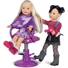 "My Life As Salon Doll Accessory Set, Purple...Mady got the ""hairdresser"" doll for Christmas from her grandmother"