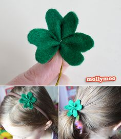 Simple to make felt shamrocks glued to hairbands, hair clips and ponytail ties - St Patrick Day Crafts and accessories for 'the day of parades'.  http://mollymoo.ie/2013/02/st-patrick-day-crafts/