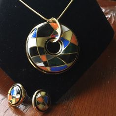 "Black round enamel necklace/ earrings set 18k gold plated zinc alloy.  Flat snakeskin chain 16-19"" long with extender and lobster claw clasp.  Pendant is 2"", stud earrings 3/4"".  Abstract design and rich colors.  Trendy and gorgeous set!  New in packaging and will ship in jewelry box. Jewelry Necklaces"