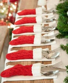 stockings as cutlery holders for place setting.