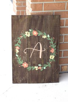 Personalized Rustic Wooden Sign - Wedding Keepsake - Rustic Weddings by ThePaperWalrus on Etsy Wooden Monogram, Monogram Signs, Baby Monogram, Wooden Wedding Signs, Wooden Signs, Wooden Crafts, Wooden Diy, Home Crafts, Diy And Crafts