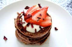 Rose-scented strawberry pancakes