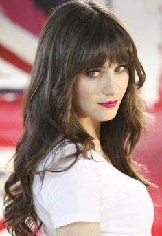 Zooey Deschanel Long Straight Dark Hair With Bangs Hairstyle; LOVE