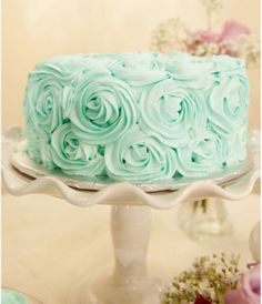 Single Layer Wedding Cake Mint- Combine a popular pastel colour like mint with textured icing rosettes and you'll have a single-layer wedding cake that is sure to impress your guests.