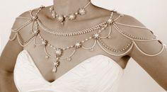 Mariée collier d'épaules, Style victorien, perles perles et strass, OOAK bijoux de mariée, mariage, bijoux, Vintage, Style années 1920