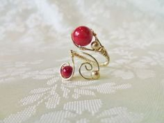 Wire wrapped adjustable Ring Red Coral, 14K gold OOAK