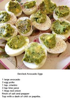 Deviled Avocado Eggs - sounds yum, looks :/ But top it with a little olive slice for a pupil and I bet it'd be a fun eyeball treat at a Halloween party