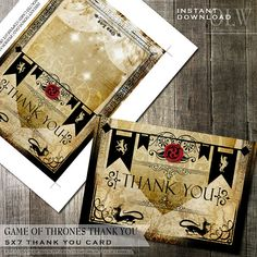 Game of Thrones Inspired Thank You Card Party by OddLotPaperie