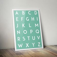 Free printable! Alphabet-poster white on mint green by verkstad-42.