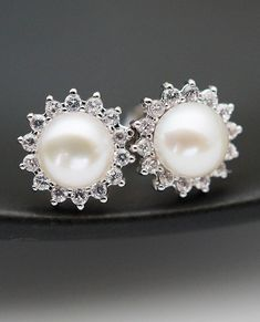 Wedding Jewelry Bridal Earrings Bridesmaid Earrings Cubic zirconia ear posts with white shell based pearl Earrings Pearl Jewelry #weddingjewelry