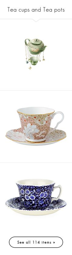 """""""Tea cups and Tea pots"""" by camis94 ❤ liked on Polyvore featuring fillers, tea, decor, fantasy, green, home, kitchen & dining, drinkware, food and cups"""