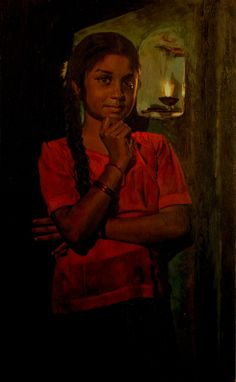 Tamil girl & Prayer lamp - Painting by S. Elayaraja (www.elayarajaartgallery.com)