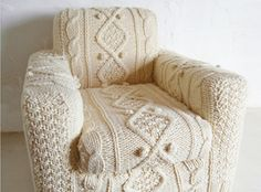 The Knitted sofa: Hand knitted cream aran armchair slip cover on Etsy