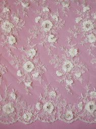 Show more information on Ivory Beaded Flower Lace - Jacqueline